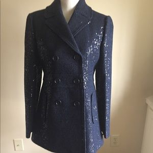 LOFT Navy Wool w/sequin accent long Peacoat